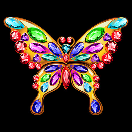 Butterfly jewelry made of gold and precious stones.