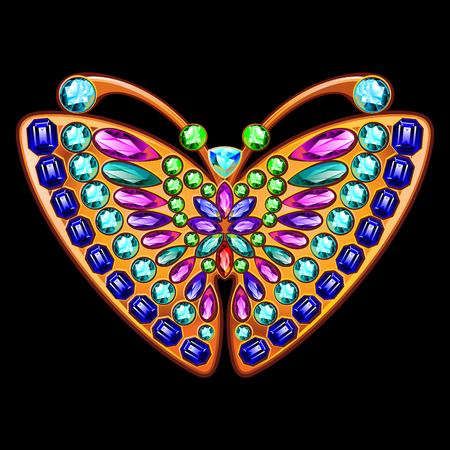 dazzle: Butterfly jewelry made of gold and precious stones.