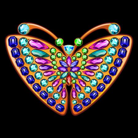 Farfalla gioielli in oro e pietre preziose. Archivio Fotografico - 66905131
