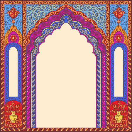 ornamented: Vector ornamented eastern arch patterns for design layouts. Primary colors: blue, red, beige.
