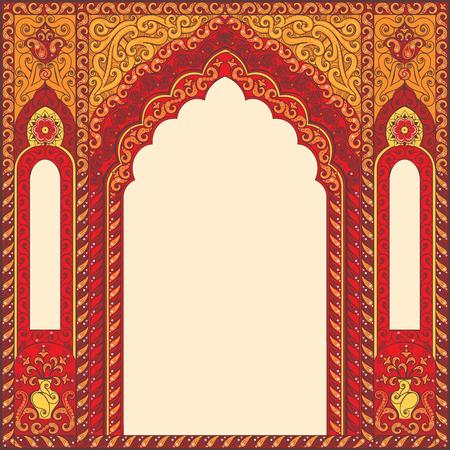 cadres rouges de l'Est, arch. éléments de conception de modèles dans le style oriental. Floral Frame pour les cartes et cartes postales. invitations musulmanes et de la décoration pour brochure, flyer, affiche. Vecteur frontière