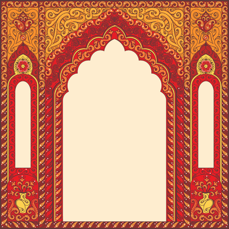 Eastern red frames, arch. Template design elements in oriental style. Floral Frame for cards and postcards. Muslim invitations and decor for brochure, flyer, poster. Vector border