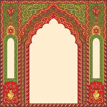Vecteur orné patrons arc orientales pour plans de conception. Couleurs primaires: vert, rouge, beige.