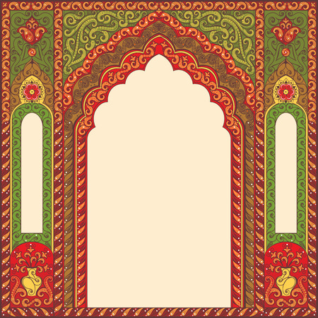 Vector ornamented eastern arch patterns for design layouts. Primary colors: green, red, beige.