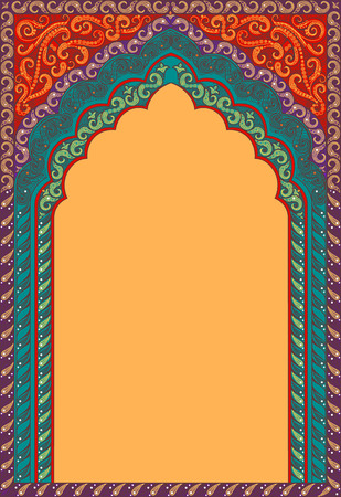 Vector Indian decorative arch. Shades of colors: red, orange, turquoise.