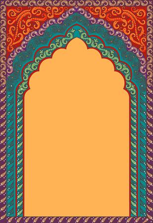 Vector Indiase decoratieve boog. Tinten van kleuren: rood, oranje, turkoois.