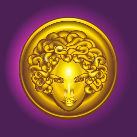 terrified: Gold vector head of Medusa the Gorgon