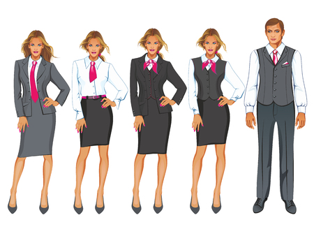 dress code: Vector illustration of corporate dress code. Businesswoman in suit isolated on white