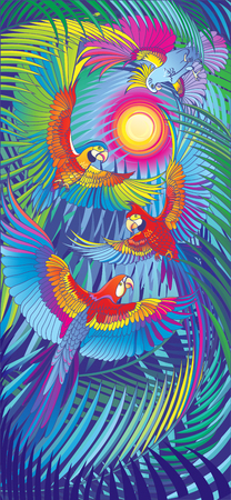 Interior panels. Group of colorful parrots in flight. Vettoriali