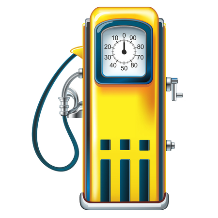 isolation: Isolation of old yellow petrol gasoline pump with 25c gas on dials