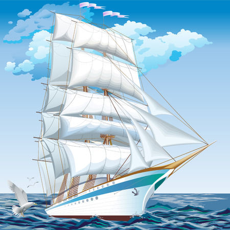 背の高い船が湖上に浮かぶ青い海。ベクトル。