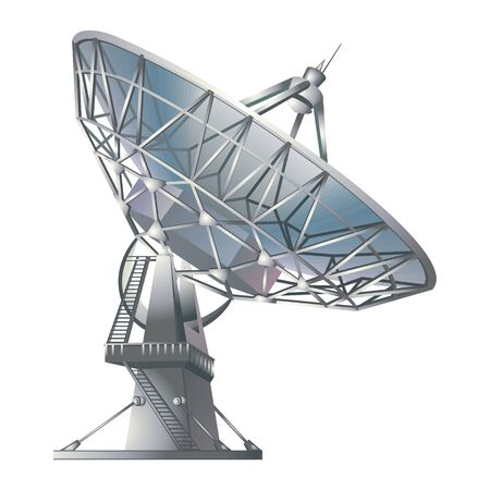 radio telescope isolated on white background