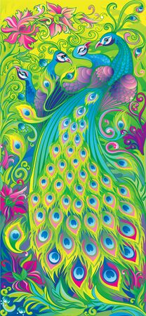 Interior panels. Chic peacock and his harem. Ilustrace