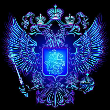 Emblema di neon blu azzurro Russia su sfondo nero. Archivio Fotografico - 66642573