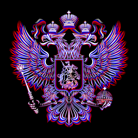 scepter: Vector coat of arms of the Russian Federation on a black background. The three colors of the national flag: red, blue, white. Illustration