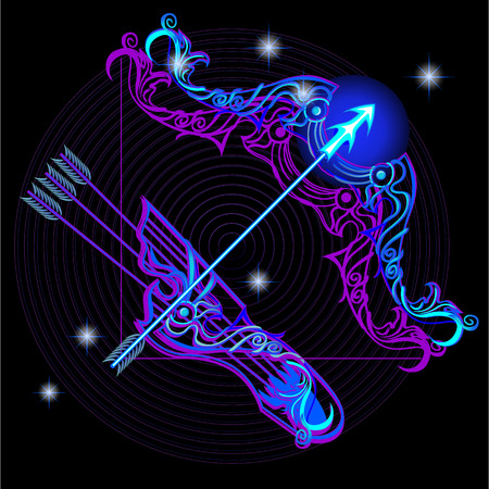 A series of signs of the zodiac. Made in neon art. On a black background constellations. Illustration