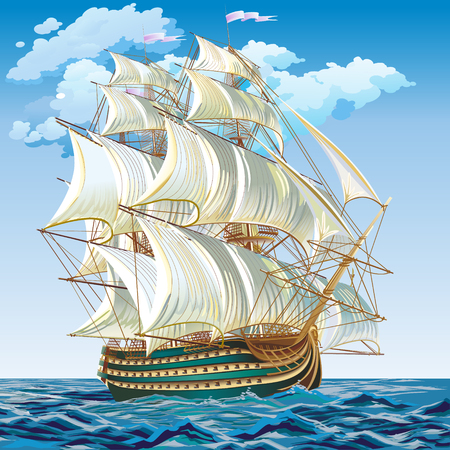 Spanish galleon on a calm sea Ilustracja