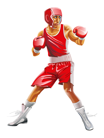 Vector caucasian man exercising boxing in silhouette on white background. The red uniforms and helmet Vettoriali