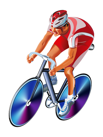 Track Cycling Cyclist. Bicyclist Athletes Sportsman on a white background
