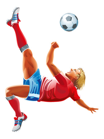 Vector Soccer player kicking the ball isolated on a white background