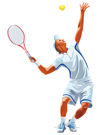 Tennis racket hits the ball on the white background.