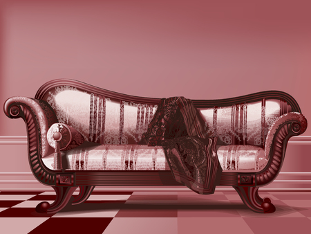 Antique sofa, from Victorian era, in brown tones. 向量圖像