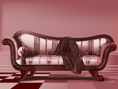 Antique sofa, from Victorian era, in brown tones. Vettoriali