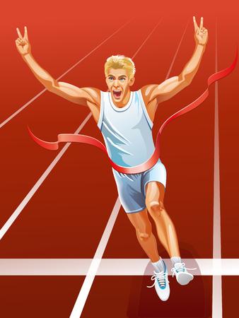 Vincitore in esecuzione giovane velocista corridore un uomo alla linea del traguardo. illustrazione vettoriale Archivio Fotografico - 66905465