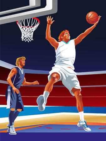 Due giocatori di pallacanestro di vettore sulla corte Archivio Fotografico - 66905466