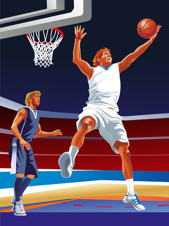 Two vector basketball players on the court