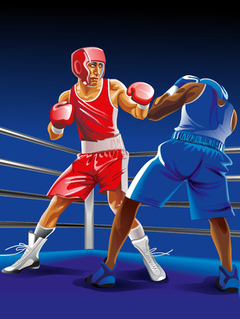 punched out: Two vector Boxers fighting in ring Illustration