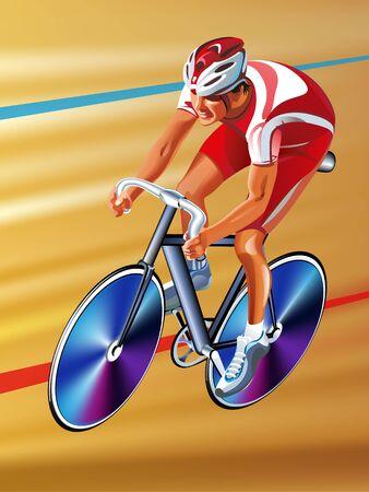 Vector cyclist on a race bike