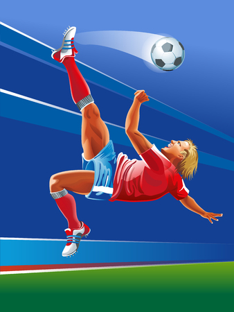 Vector concept of soccer player with abstrackt background and geometric figures combination of different colors.  Creative football design with labels for you.
