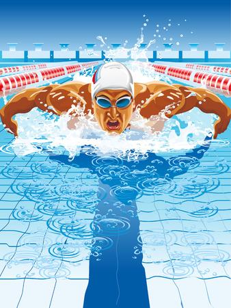 Young man in swimming cap and goggles swim using breaststroke technique Vettoriali