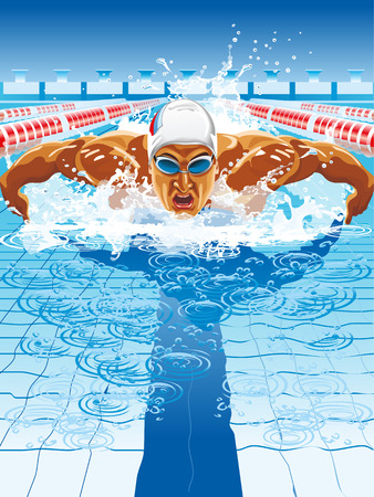 swimming cap: Young man in swimming cap and goggles swim using breaststroke technique Illustration