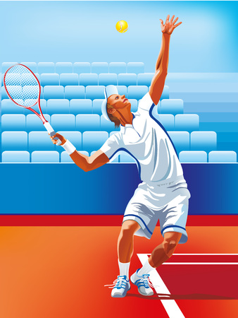 one  vector man tennis player at service serving silhouette