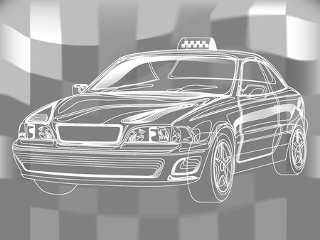 Simple line Taxi. Vector illustration on a background. scheme Vettoriali