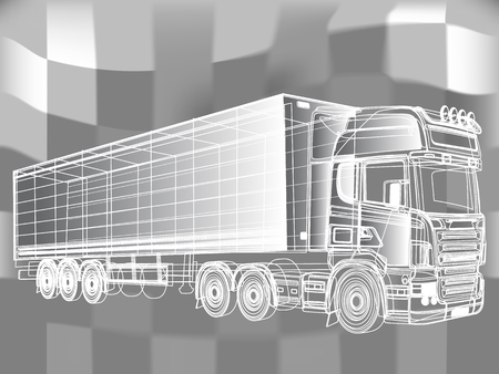 Black and white truck painted lines. Vector illustration the drawing. Vettoriali