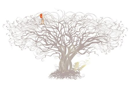 Silhouette of a tree with beige sitting bird. Vettoriali