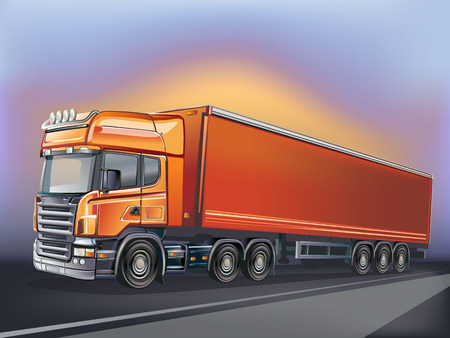 Truck and highway at sunset - transportation background Vettoriali