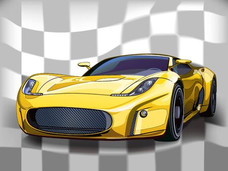 Vector yellow sports car. Background a flag of black and white squares. Ilustrace