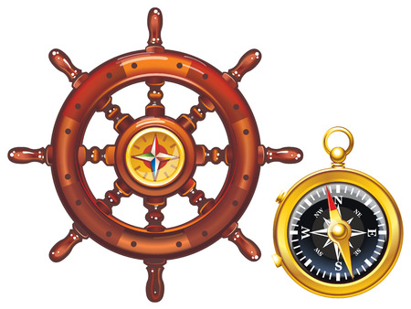 Vector icons helm of the ship and compass. 向量圖像
