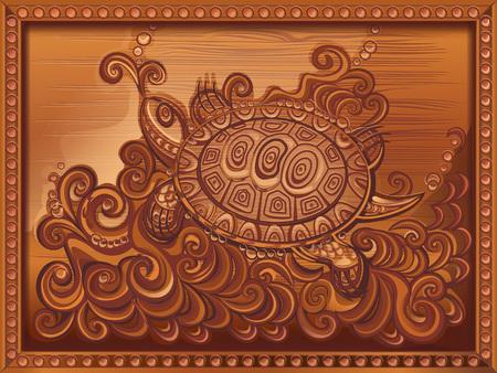 vector illustration, imitation wood carving, framed