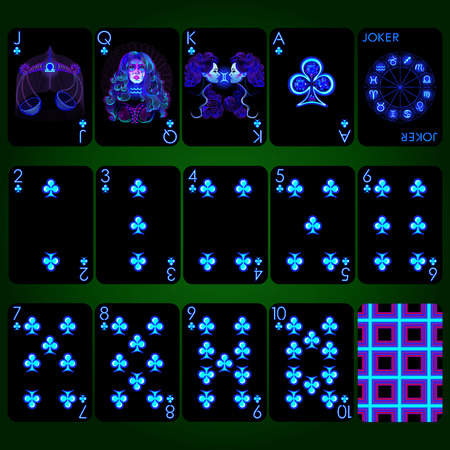 Playing cards, club suit, joker and back. Background black card