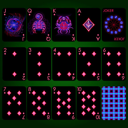 Playing cards, diamond suit, joker and back. Background black card Vettoriali