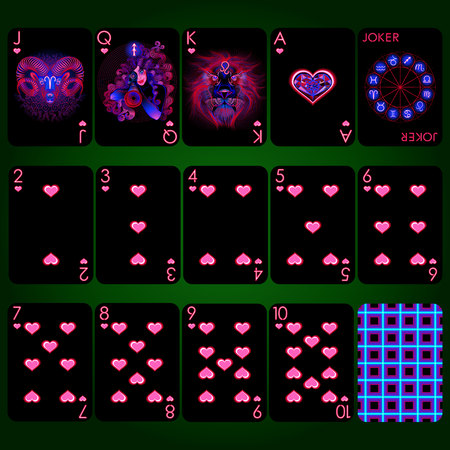 Playing cards, heart suit, joker and back. Background black card
