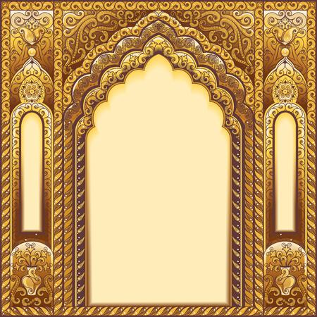 Vector arco adornado indio. Color dorado Ilustración de vector