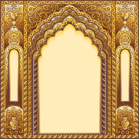 Vector Indian ornamented arch. Color Gold. Çizim