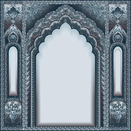Vector Arco adornado indio. Color plata.