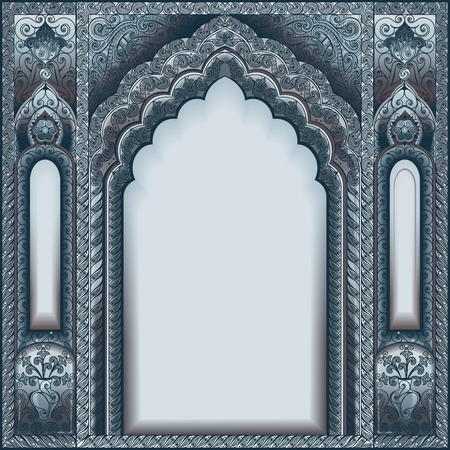 Vector Indian ornamented arch. Color Silver. Vettoriali